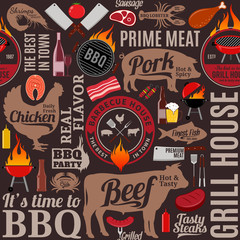 Vector barbecue seamless pattern or background