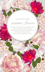 Template for greeting cards, wedding decorations, invitation,sales. Vector banner with Luxurious summer flowers. Spring or summer design. Place for text.