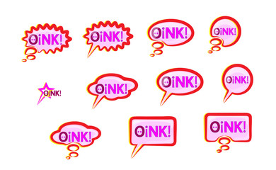 Pink speech bubble Icons set wish inscription oink. Lettering vector design elements. Cute text the voice of the pig. Funny pig vector grunting and squeal, chomp vector illustration