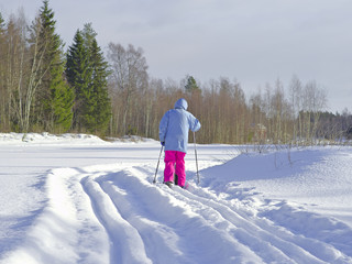 Cross-country skier skiing on classical style track. Fresh winter activity background.