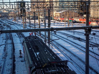 railway cars in winter in the snow