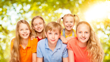 Children Group Five Persons, Kids Girls and Boy Portrait, Pupils Looking at Camera over Green Nature Background