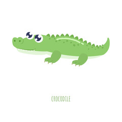 Cute crocodile vector illustration. Flat design.