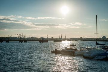 Baltic Sea bay with yachts at sunset at Tallinn, Estonia. Seaplane Harbour Tallinn.
