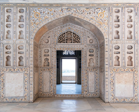 Agra Fort in Agra, Uttar Pradesh, India. UNESCO world heritage. Agra Fort designed and built by the great Mughal ruler Akbar, in about 1565 A.D.