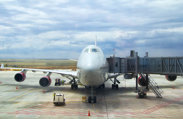 airplane at airport. Business and travel concept