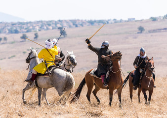Reconstruction of Horns of Hattin battle in 1187. Riders from Saladin's army are fighting the riders from the Crusader troops on the battlefield.