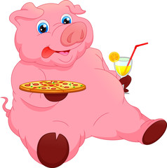 cute pig cartoon with foods