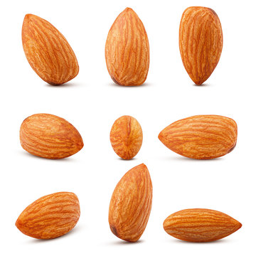 almond isolated on white background, clipping path, full depth of field