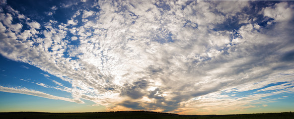 Panoramic view of the dramatic sunset