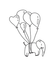 illustration of an elephant with balloons lines