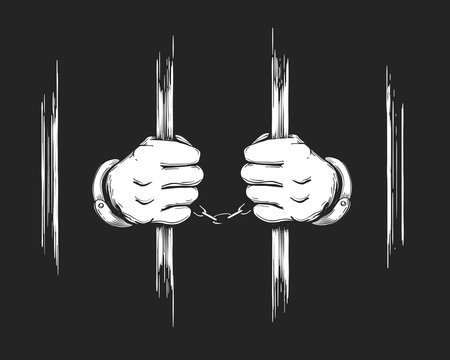 Hands in Cuffs Holding Prison Bars
