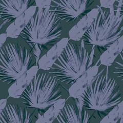 Modern Cool Banana, Fan Leaves Textile, Seamless Tropical Watercolor Pattern. Botanical Grunge Textile Design Jungle Hipster Summer Background. Hand Drawn Jungle Leaves, Tropical Watercolour Pattern.