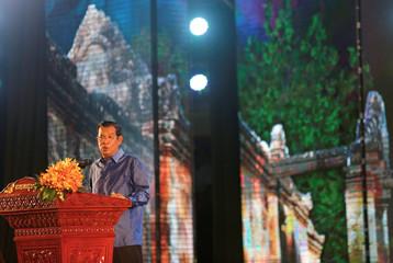 Cambodia's PM Hun Sen speaks during templates as UNESCO sites anniversary in Phnom Penh