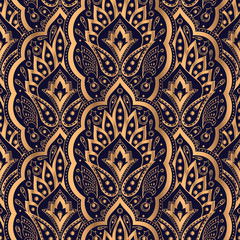 Luxury background vector. Paisley royal pattern seamless. Golden design for yoga wallpaper, beauty spa salon ornament, indian wedding invite party, birthday wrapping paper, christmas holiday gift.