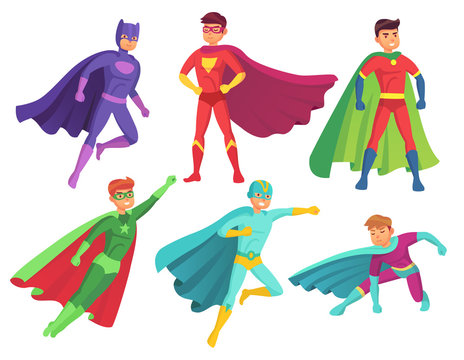 Superhero man characters. Cartoon muscular hero character in colorful super costume with waving cloak. Flying superheroes vector set