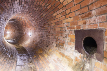 Old sewers in Polish city Łodz.  Brick construction