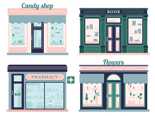 Modern stores set. Candy shop facade and urban book store. Local retail pharmacy and flowers boutique. Outdoor storefront vector set