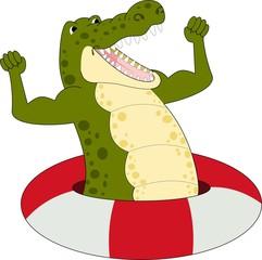illustration of Cartoon strong crocodile raster