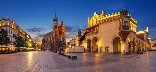 Krakow, Poland-June 2018: Main Market Square,Sukiennice ,Krakow, Poland.