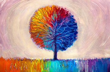 Obraz Tree, oil painting, artistic background - fototapety do salonu
