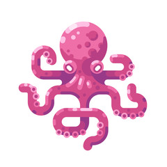 Pink octopus flat illustration.
