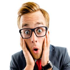Shocked or very surprised businessman