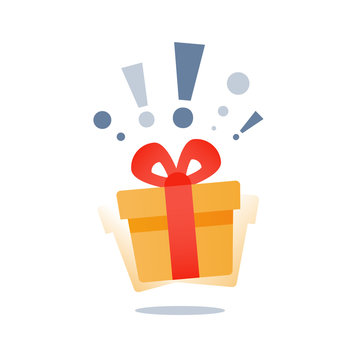 Wonder gift with exclamation mark, delight present, surprise yellow gift box, special give away package, loyalty program reward