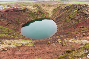 Kerið volcanic crater lake also called Kerid or Kerith in Iceland. Part of the Golden Circle route