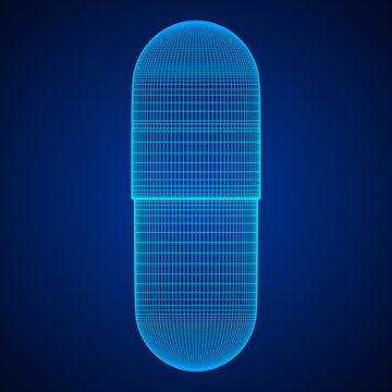 Medical capsule pill wireframe low poly mesh object. Vector illustration