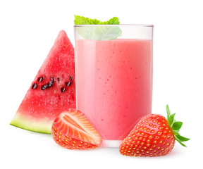 Isolated drink. Glass of watermelon and strawberry smoothie with mint isolated on white background with clipping path