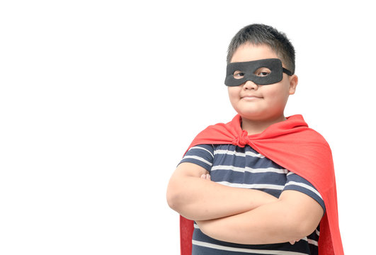Fat child plays superhero isolated