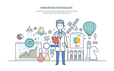Innovation technology. Introduction of research solutions, scientific works, creative thinking.