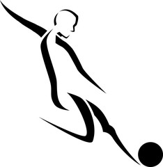 Stylized Male Soccer Player Kicking