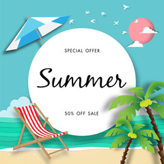 Summer sale background with the beach paper art style vector and illustation