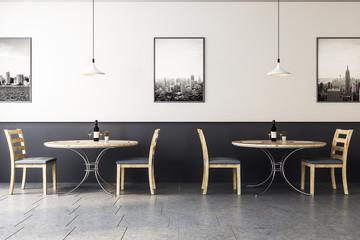 hipster wooden cafe interior