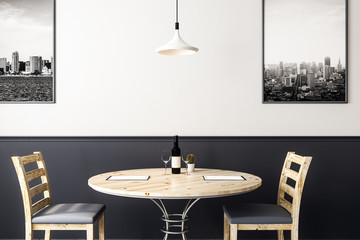 round wooden cafe table with chairs