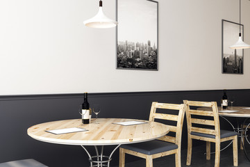 modern hipster cafe with wooden furniture