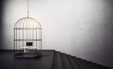 birdcage with workplace and stairs