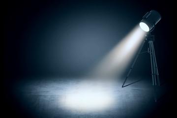 theater spot light in empty studio