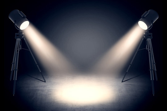 theater spot lights in empty studio
