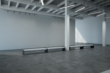 spacious industrial gallery hall