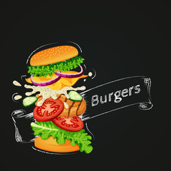 Chiken burger icon. Flying burger showing ingredients with outline and ribbon drawn with chalk on a blackboard.