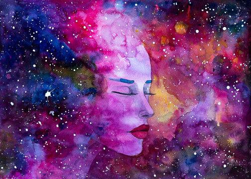 Nebulosa galassia donna bella acquerello