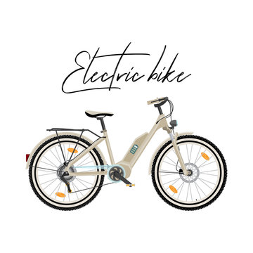 Electric city bike vector illustration isolated on white background