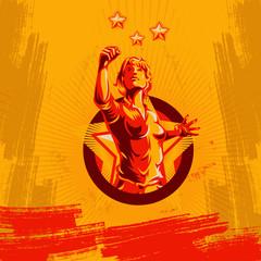 Women protest fist revolution poster design. Propaganda Background Style.