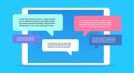 Mobile application chat interface message notifications bubble copy space flat horizontal vector illustration