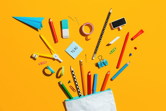 School supplies and pencil case. Back to school concept.