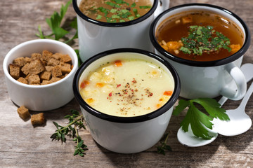hot soups in mugs