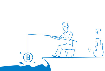 businessman fishing rod money bitcoin mining growth wealth concept, business man white background sketch doodle vector illustration